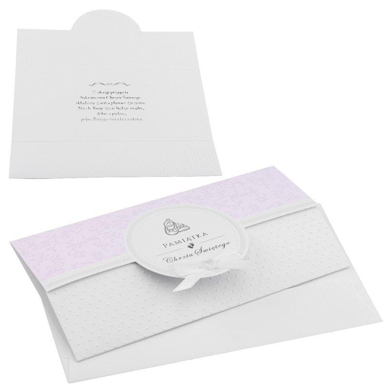 Kartka na chrzest Pamiątka Chrztu Świętego - różowa ze srebrnymi bucikami oraz stópkami