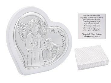 """Biały obrazek """"Twój Anioł Stróż"""" Pamiatka Chrztu Świ. serce srebro 925 Dedykacja"""
