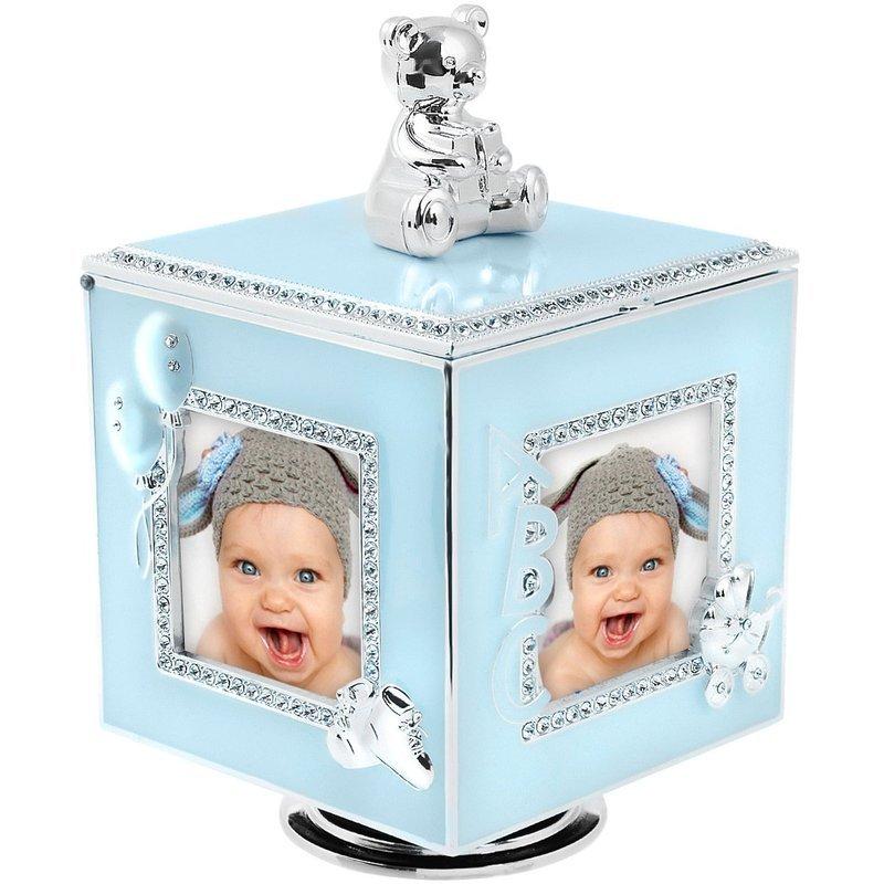 Błękitna Karuzela miś z pozytywką, szkatułką i miejscem na 4 zdjęcia na chrzest roczek DEDYKACJA
