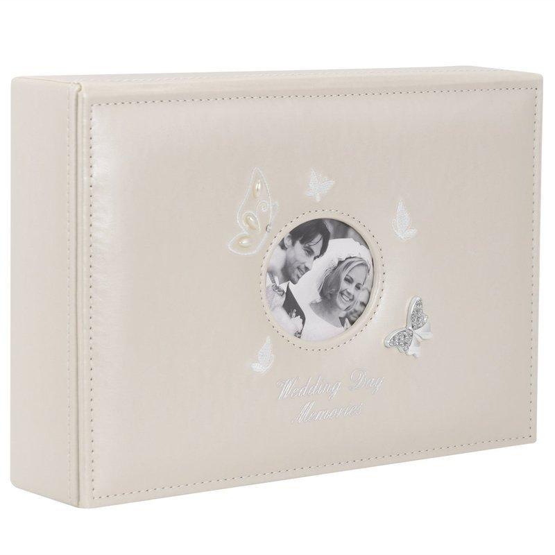 Duża Szkatułka Pudełko wspomnień z motylami beżowa Pamiątka na Ślub Rocznicę GRAWER