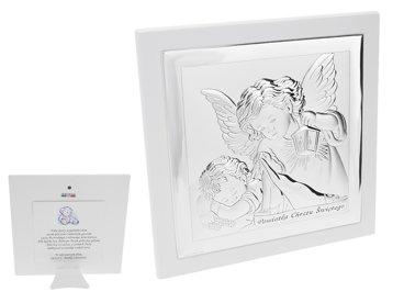 Duży Obrazek Srebrny  Anioł Stróż z latarenką 19x19 cm Pamiątka Chrztu Ddedykacja