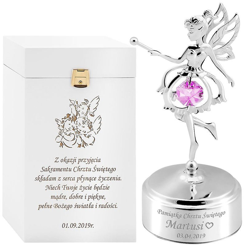 Elf girl music box with original Swarovski crystals, Baptism one-year Anniversary Gift with Engraving.