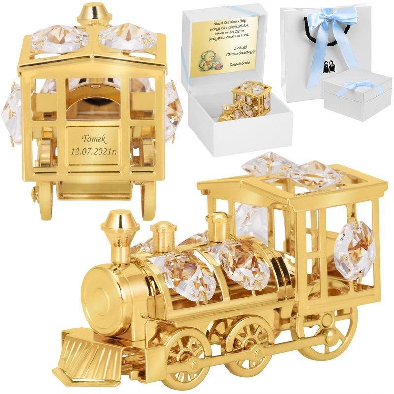 Figurka pozłacana lokomotywa Prezent na Chrzest Dedykacja