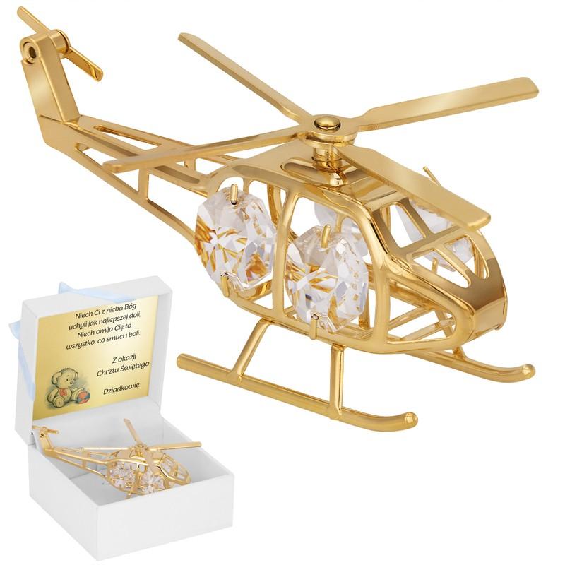 Helikopter Swarovski Pamiątka chrzest roczek z GRAWEREM Dedykacja Tabliczka