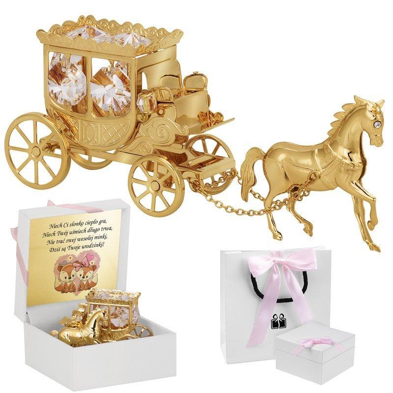Kareta z koniem Kryształy Swarovski Prezent na Chrzest Roczek Pamiątka Chrztu z Grawerem Dedykacją