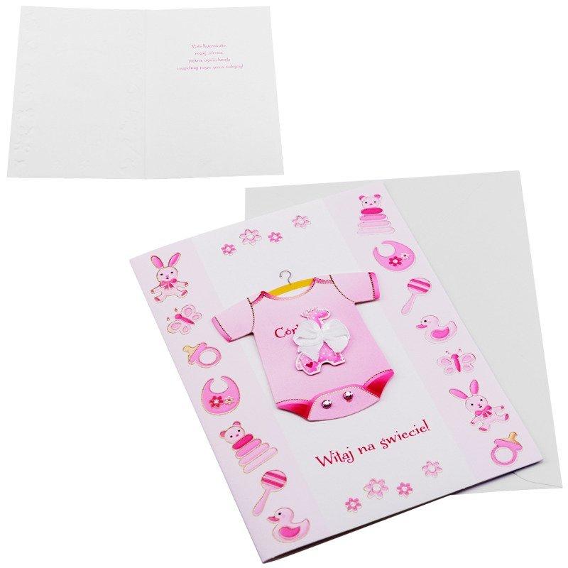 Kartka z okazji narodzin dziecka -  Różowe Body