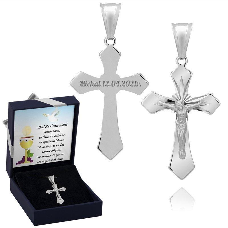 Krzyżyk srebrny pr.925  z Jezusem chrzest komunia bierzmowanie Grawer