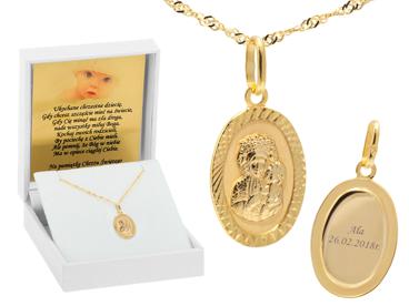 Owalny złoty medalik z Matką Boską Częstochowską próba 333 GRAWER różowa kokardka