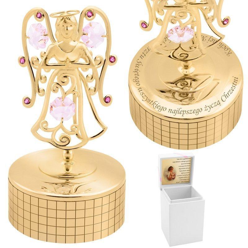 Pozytywka Anioł Różowe Kryształy Swarovski Prezent na Chrzest Grawer i Etui