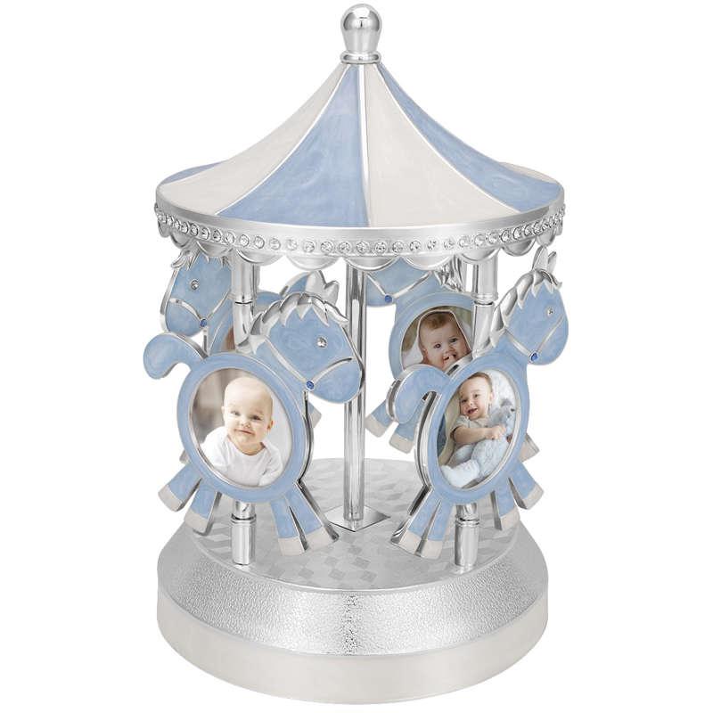 Pozytywka karuzela na Chrzest z ramką na zdjęcia Niebieska