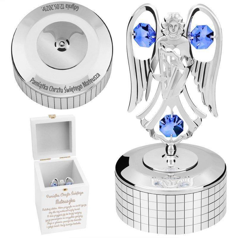 Pozytywka srebrny Anioł Swarovski Prezent na Chrzest GRAWER