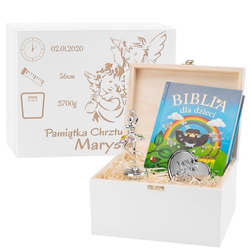 Pudełko wspomnień na chrzest roczek dla dziewczynki Prezent z Grawerem