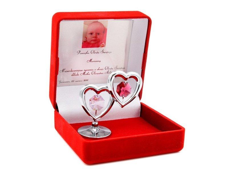Serce podwójne Kryształy Swarovski Prezent z Dedykacją