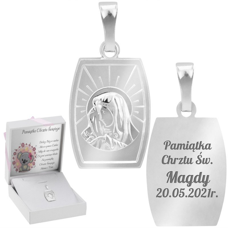 Srebrny Duży Medalik Z Matką Boską Z Grawerem