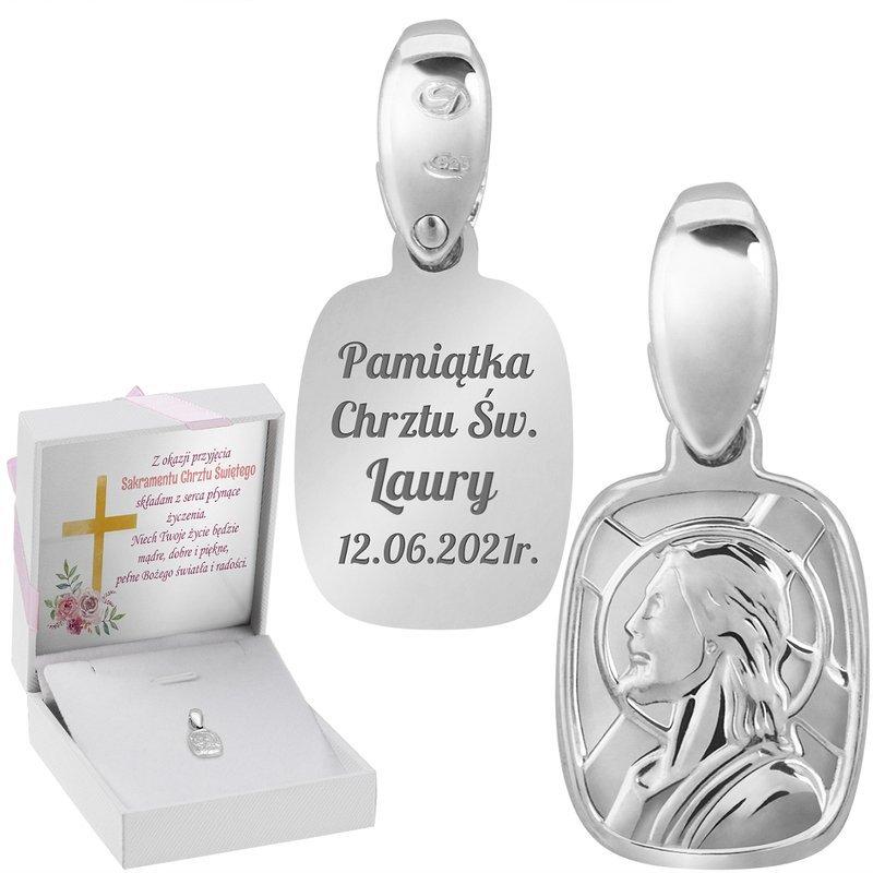 Srebrny Medalik Z Jezusem Na Chrzest I Komunię Grawer