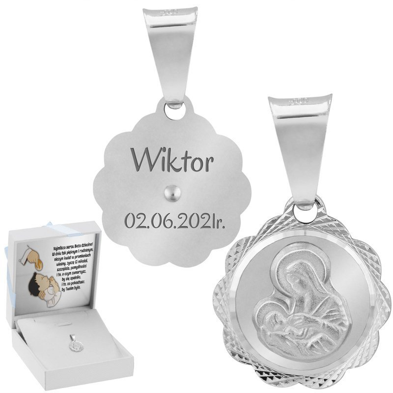 Srebrny Medalik z Matką Boską Karmiącą Grawer