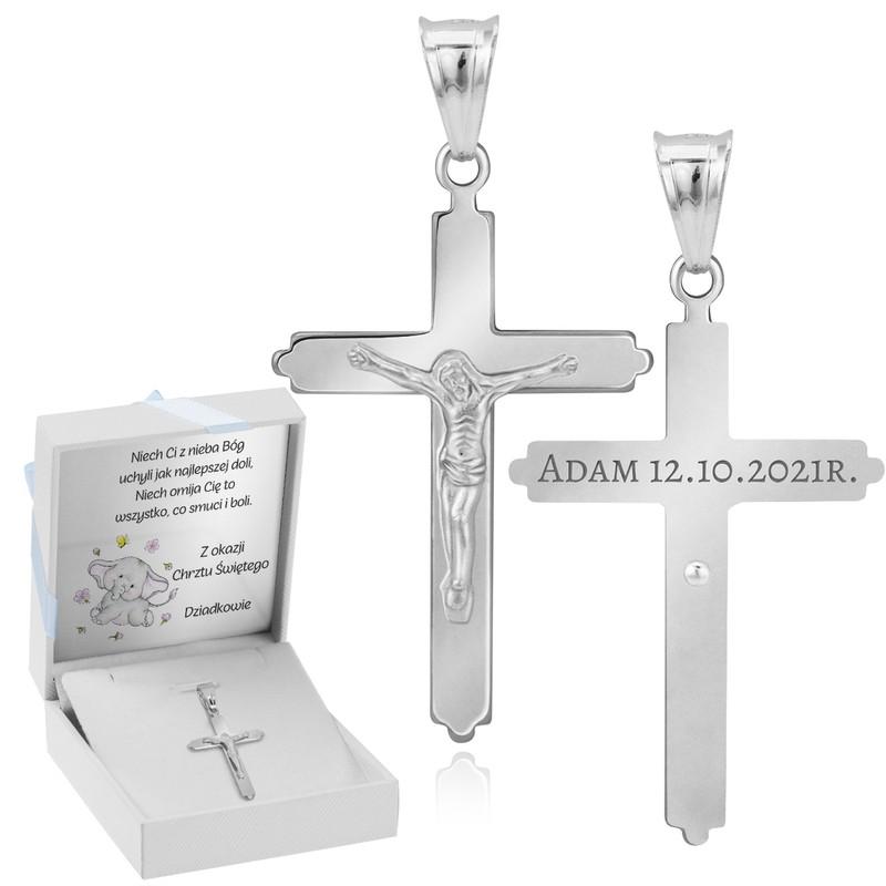 Srebrny duży krzyżyk z Jezusem / na I Komunię Św. / Chrzest Św. / pr. 925 / niebieska kokardka / z Grawerem i Dedykacją