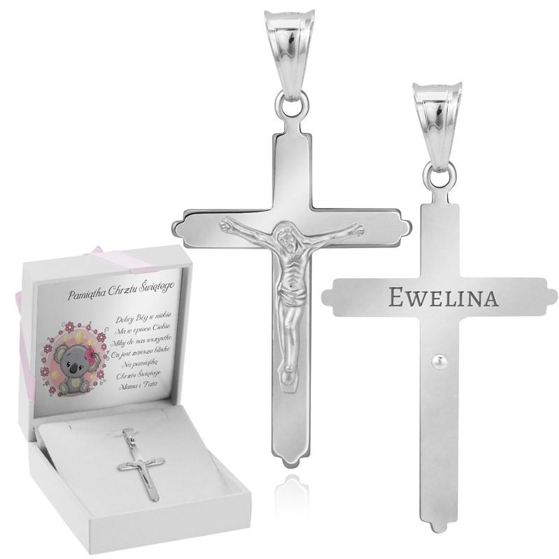 Srebrny duży krzyżyk z Jezusem / na I Komunię Św. / Chrzest Św. / pr. 925 / różowa kokardka / z Grawerem i Dedykacją
