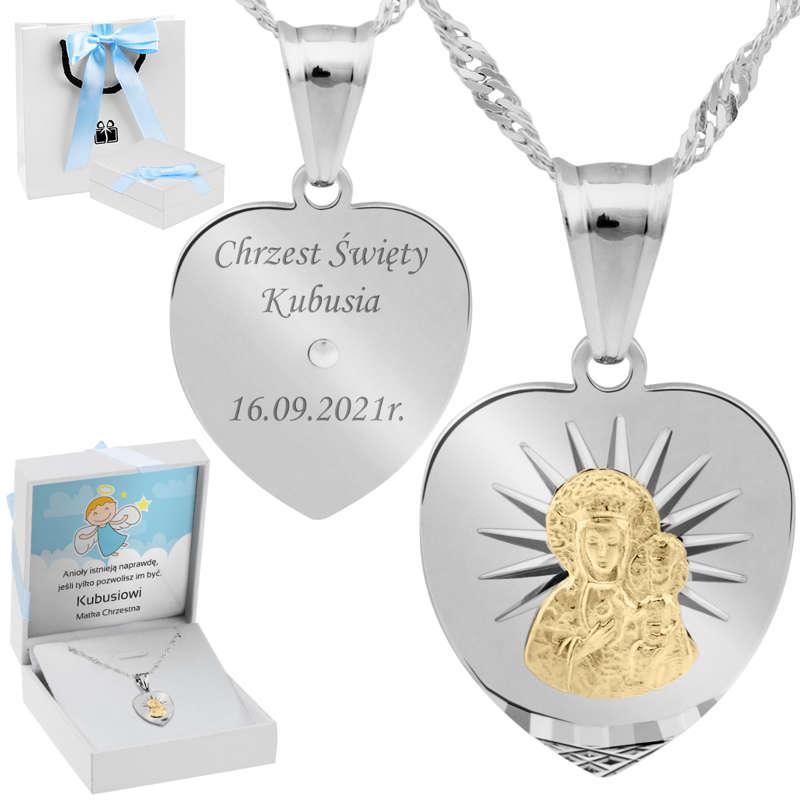 Srebrny medalik Serce Matka Boska Częstochowska Pozłacana pr. 925 Grawer