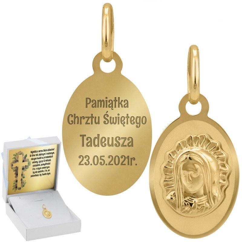 Złoty Medalik Matka Boska Grawer I Dedykacja Nieb.