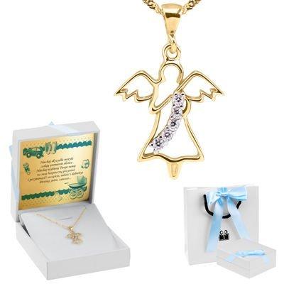 Złoty Medalik pr. 333 Aniołek Pamiątka Chrztu Dedykacja