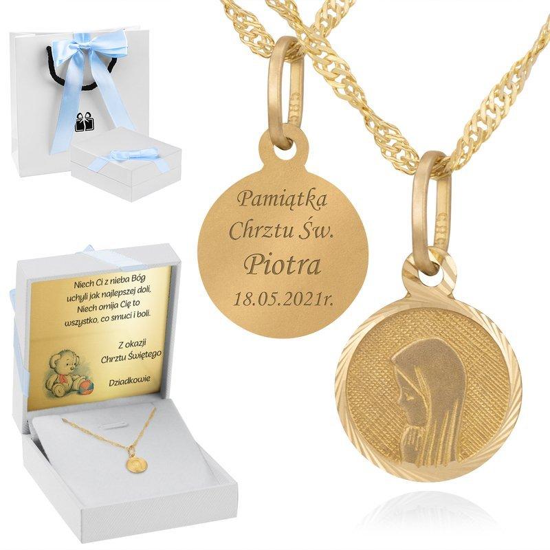 Złoty medalik okrągły Madonna pr. 585 Grawer Dedykacja