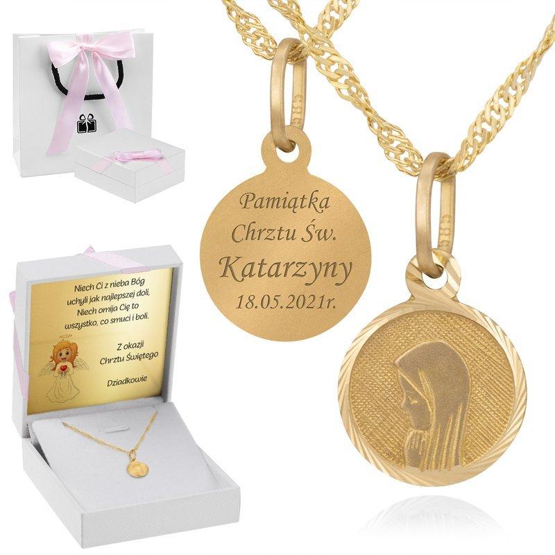 Złoty medalik okrągły Madonna pr. 585 Grawer różowa kokardka
