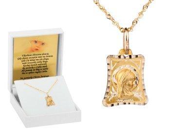 Złoty medalik pr. 585 Madonna Chrzest Komunia Bierzmowanie DEDYKACJA niebieska kokardka