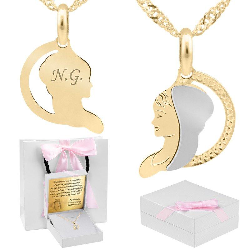 Złoty medalik z łańcuszkiem 585 Matka Boska Grawer różowa kokardka