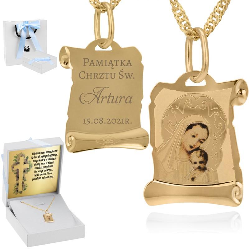 Złoty medalik z łańcuszkiem pr. 585 Matka Boska z Małym Jezusem Chrzest Komunia Grawer