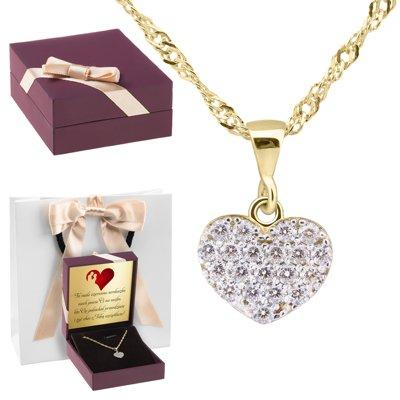 Złoty wisiorek płaski serce multi kryształy 333 Dedykacja