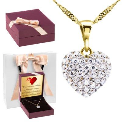 Złoty wisiorek serce kryształy łańcuszek pr. 333 Dedykacja