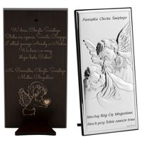 Obrazek Anioł Stróż z modlitwą 10,5 x 20,5 cm Pamiątka Chrztu Grawer