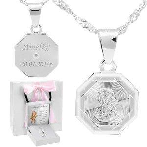 Srebrny medalik Matka Boska Częstochowska pr. 925 Grawer różowa kokardką