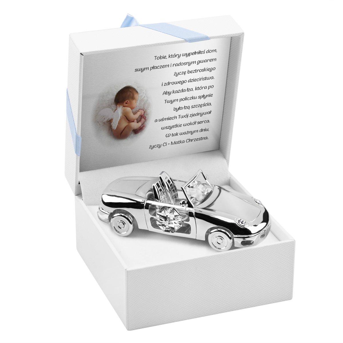 Auto Swarovski pamiątka na chrzest roczek Grawer