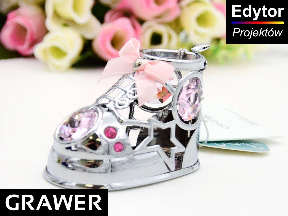 Bucik róż Swarovski pamiątka Chrztu Roczku GRAWER