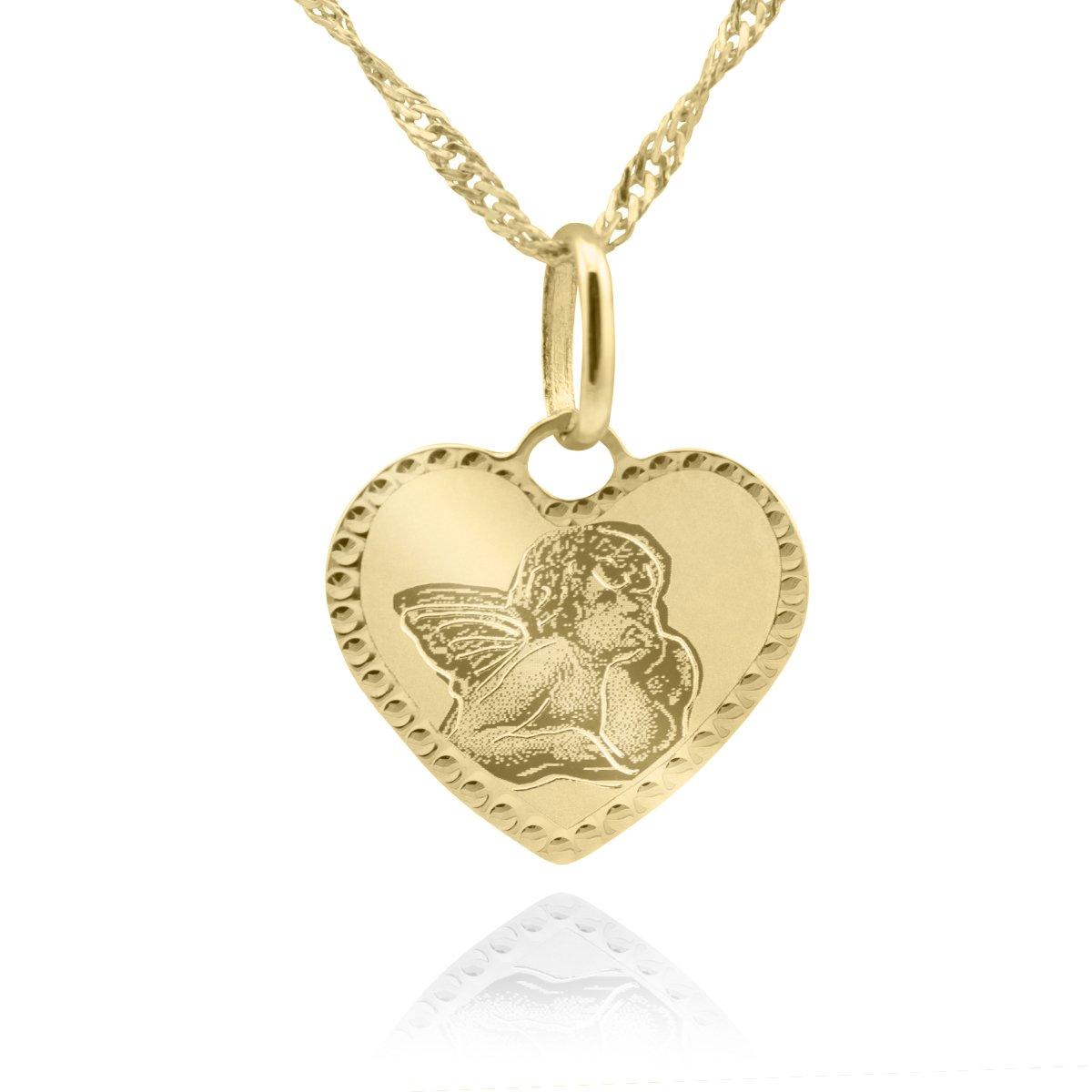 Złoty Medalik Serce pr. 585 Aniołek Pamiątka Chrztu Grawer różowa kokardka