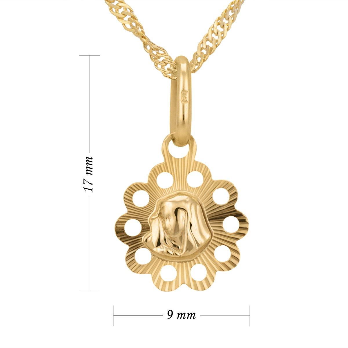 Złoty medalik z łańcuszkiem próba 585 z wizerunkiem Matki Boskiej Chrzest Komunia Bierzmowanie GRAWER niebieska kokardka