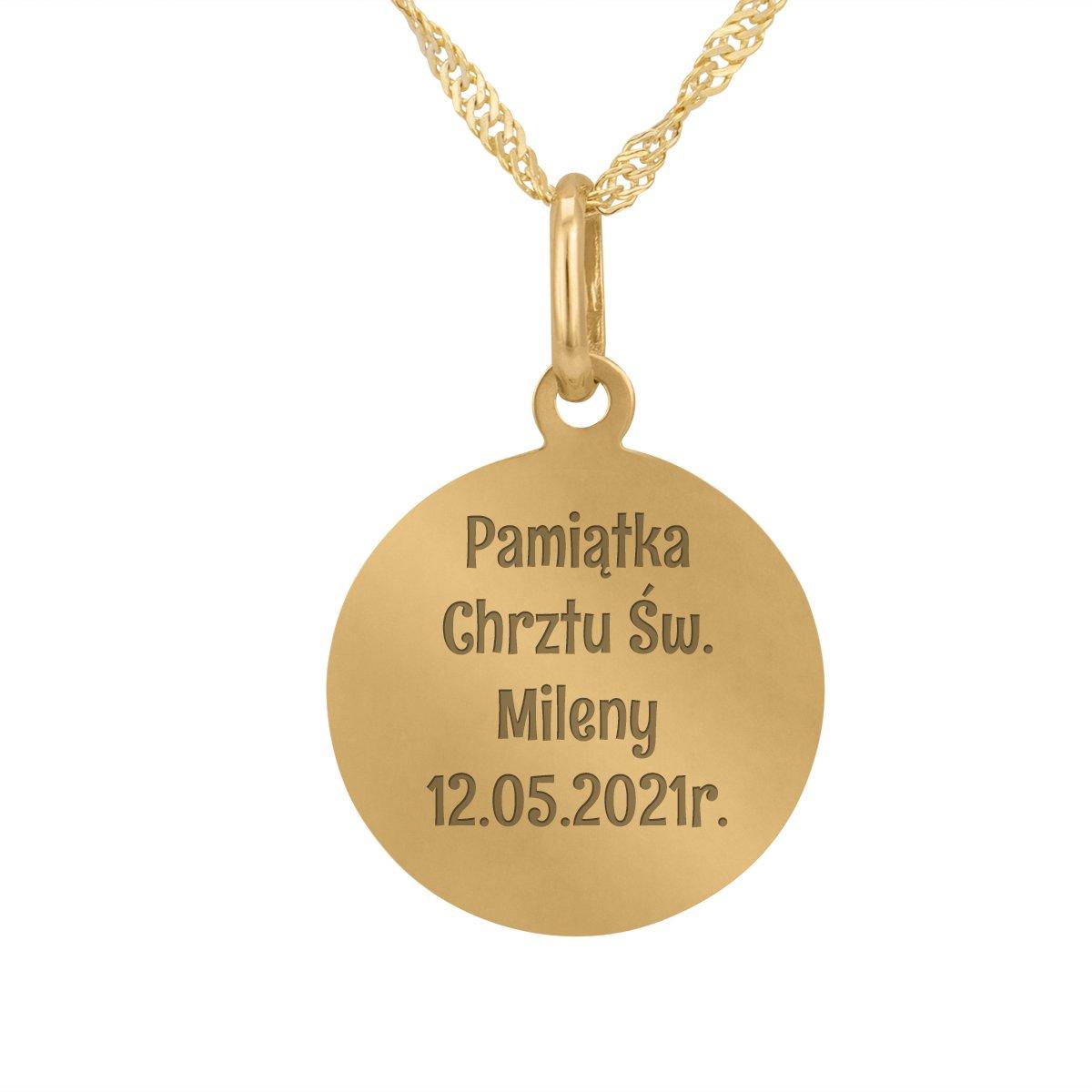 Złoty okrągły medalik z łańcuszkiem próba 585 Matka Boska Chrzest Komunia Bierzmowanie GRAWER Różowa Kokardka