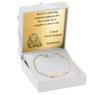 Złota Bransoletka łańcuszek z blaszką pr. 585 Prezent na Chrzest Roczek Grawer Niebieska Kokardka 4