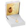 Złoty medalik okrągły ażurowy Matka Boska z Dzieciątkiem DEDYKACJA różowa kokardka 2