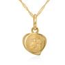 Złoty medalik z Matką Boską Częstochowską serduszko pr. 333 Chrzest Komunia Grawer niebieska kokardka 2