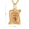 Złoty medalik z Matką Boską i Dzieciątkiem w kolorze z Grawerem - z łańcuszkiem / niebieska kokardka / na Chrzest / I Komunię Św. / pr. 585 6