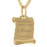 Złoty medalik z Matką Boską i Dzieciątkiem w kolorze z Grawerem - z łańcuszkiem / niebieska kokardka / na Chrzest / I Komunię Św. / pr. 585 4