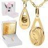 Złoty medalik z Matką Boską w kształcie łzy pr. 585 Pamiątka Chrzest Komunia Bierzmowanie Grawer różowa kokarda 1