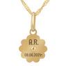 Złoty medalik z łańcuszkiem próba 585 z wizerunkiem Matki Boskiej Chrzest Komunia Bierzmowanie GRAWER niebieska kokardka 2